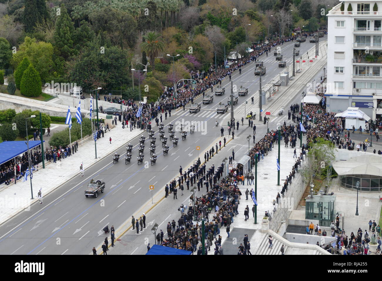 Greek military, parade in Athens for the 2018 Independence Day Celebrations. Greece is a member of the North Atlantic Treaty Organization (NATO). Stock Photo