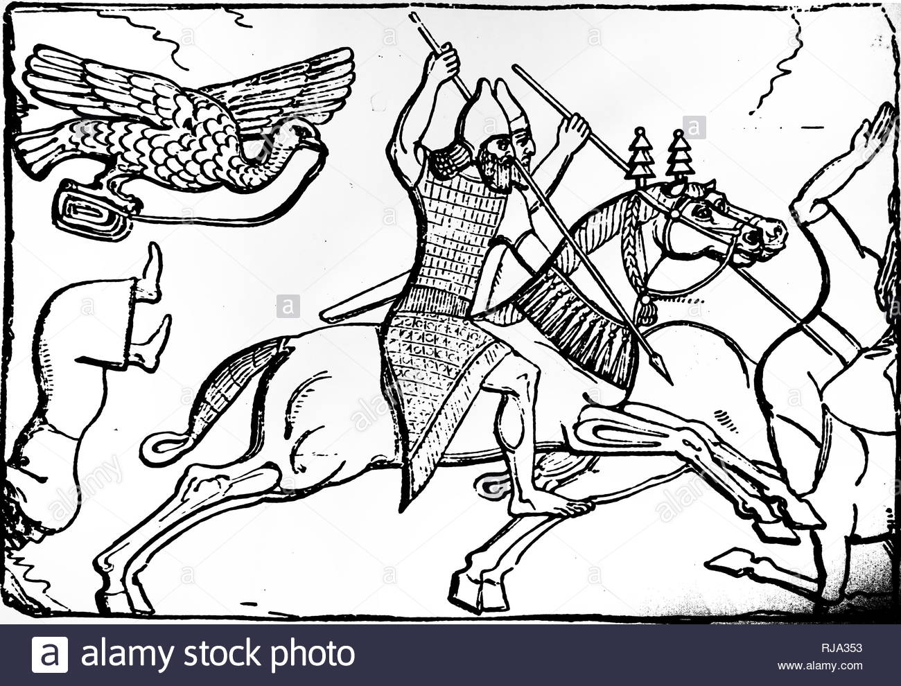 Engraving depicting an Assyrian cavalry pursuing their enemies. From a bas relief found at Nimrud. Dated 16th century - Stock Image