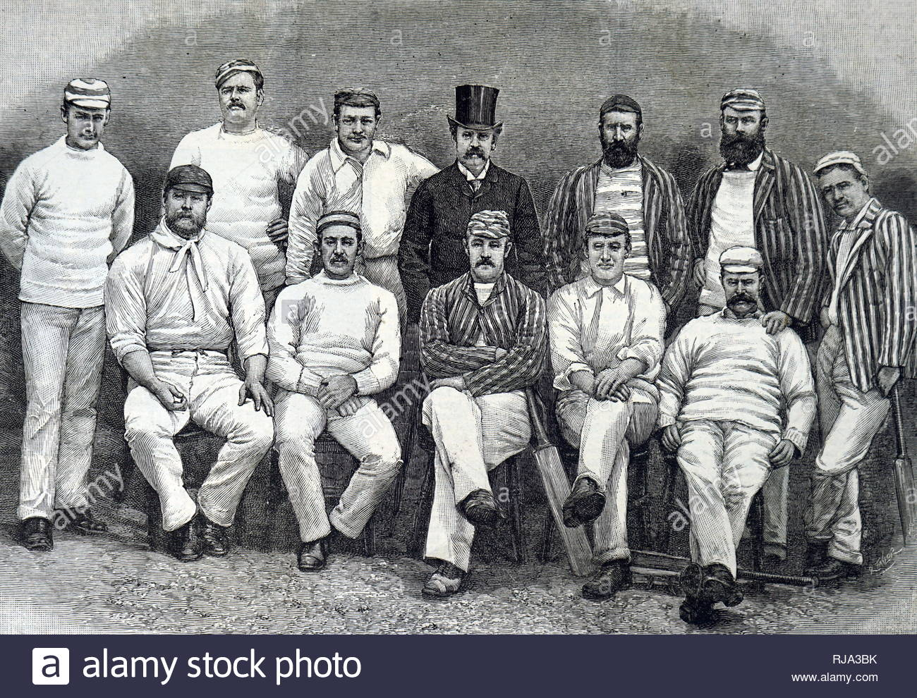Engraving depicting the Australian touring team of 1888. Seated left to right: G.J. Bonnor, C.T.B. Turner, P.S. MacDonnell (Captain), H. Trott, A.C. Bannerman. Standing, left to right: F.J. Ferris, A.H. Jarvis, J. Worrall, C.W. Beal (manager), J.M.C. Blackham, H.F. Boyle, J. Edwards. Dated 19th century - Stock Image