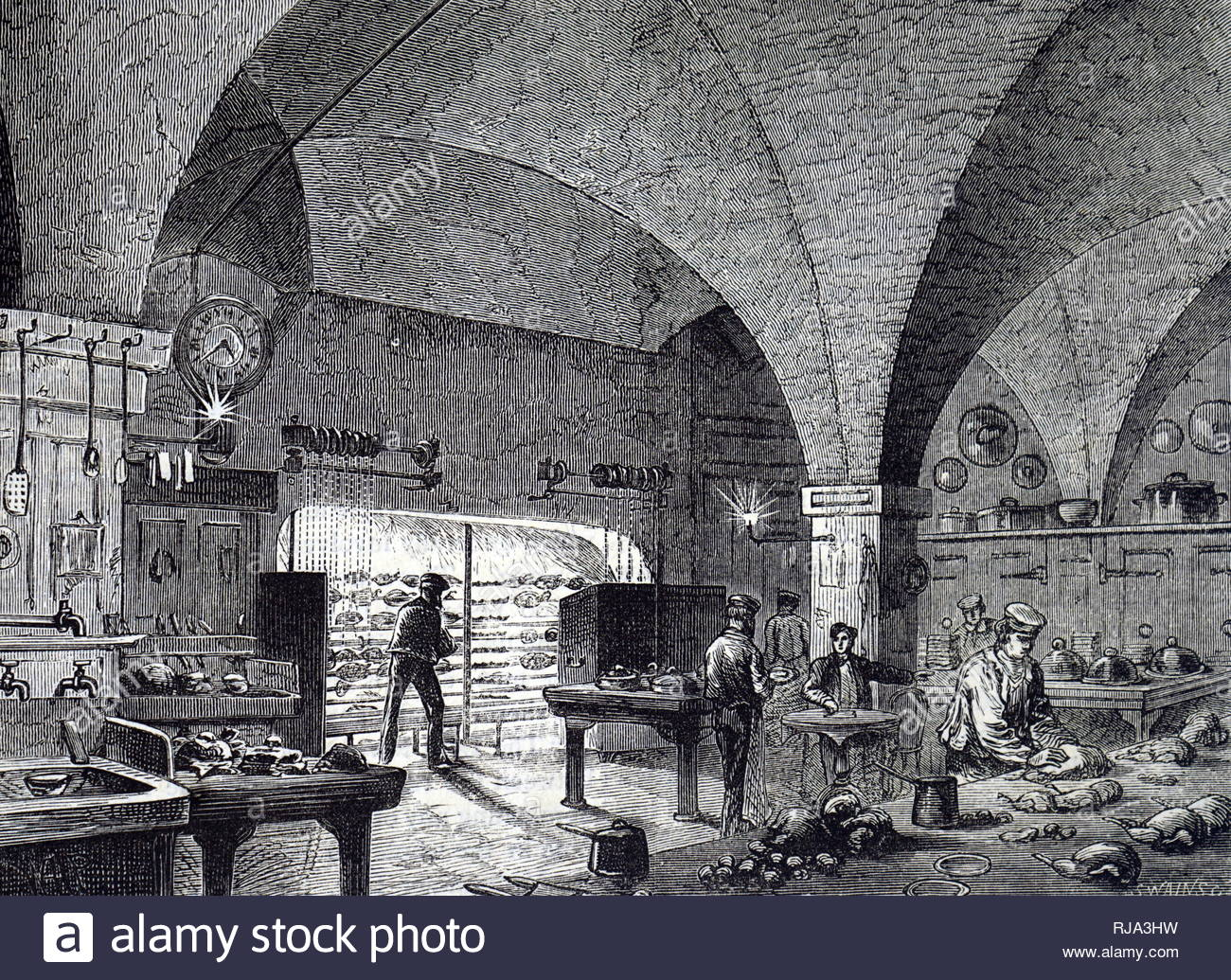 Engraving depicting the kitchen at the Mansion House, London, the official residence of the Mayor of London. Dated 19th century - Stock Image