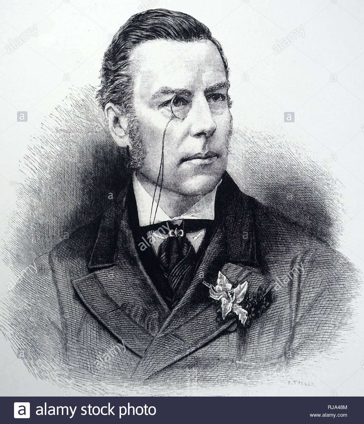 Portrait of Joseph Chamberlain (1836-1914) a British statesman who was first a radical Liberal, then, after opposing home rule for Ireland, a Liberal Unionist, and eventually served as a leading imperialist in coalition with the Conservatives. Dated 19th century - Stock Image
