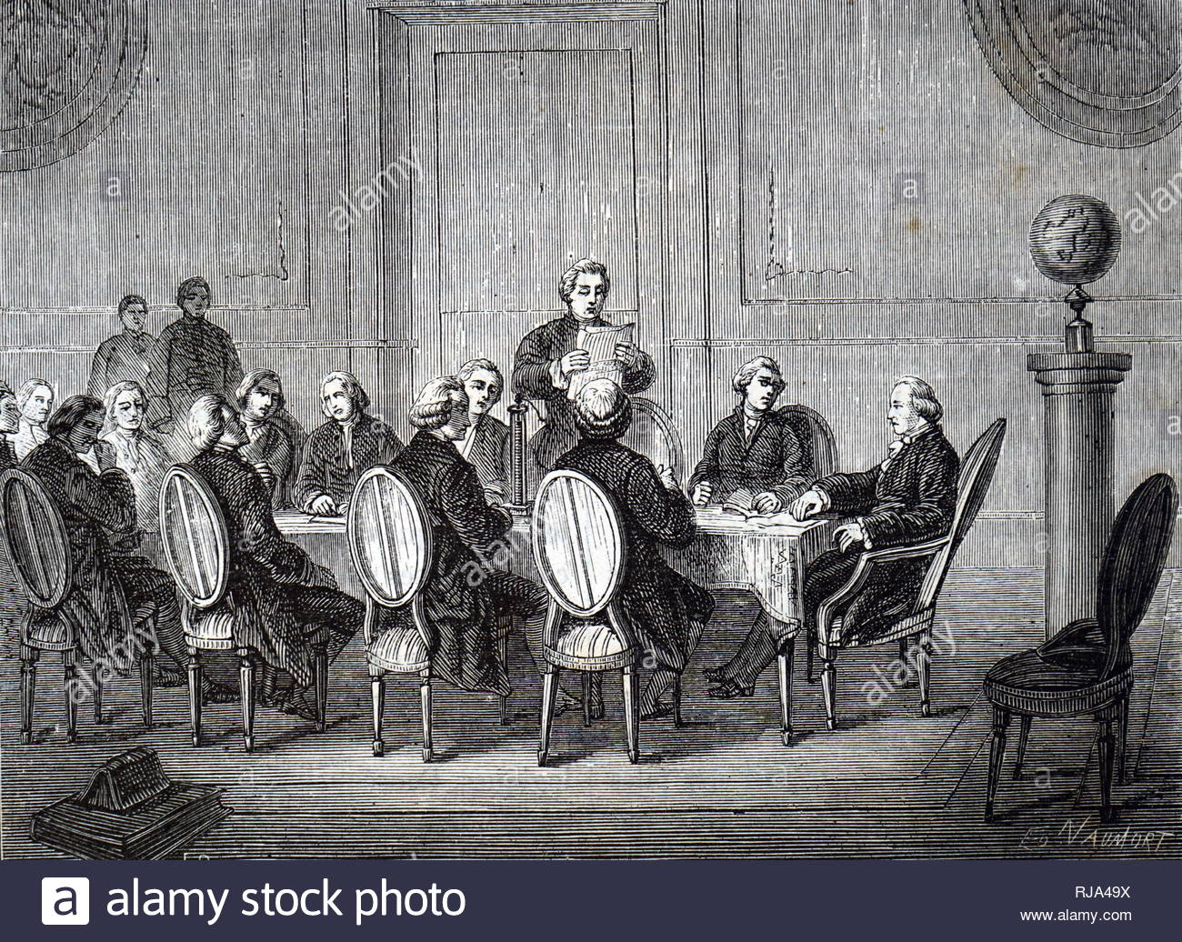 Engraving depicting Joseph Banks reading to the Society Volta's letter about his electric pile (battery) to members of the Royal Society. Joseph Banks (1743-1820) an English naturalist, botanist and patron of the natural sciences. Dated 19th Century - Stock Image