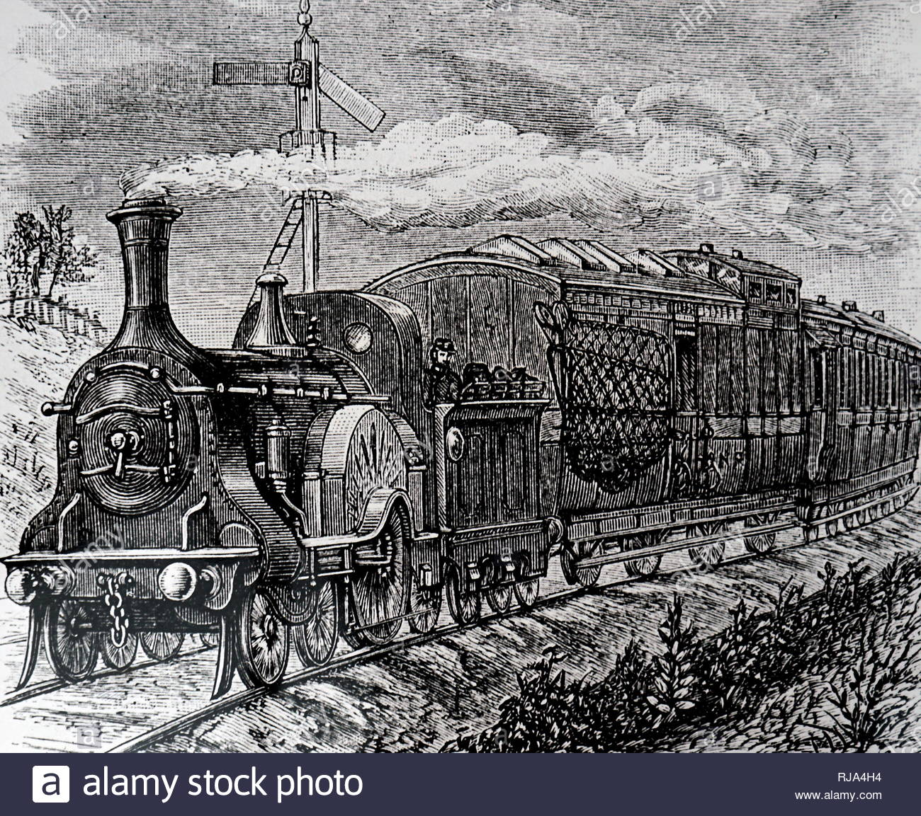 Engraving depicting a mail train on the Great Northern Railway Line. Dated 19th century - Stock Image