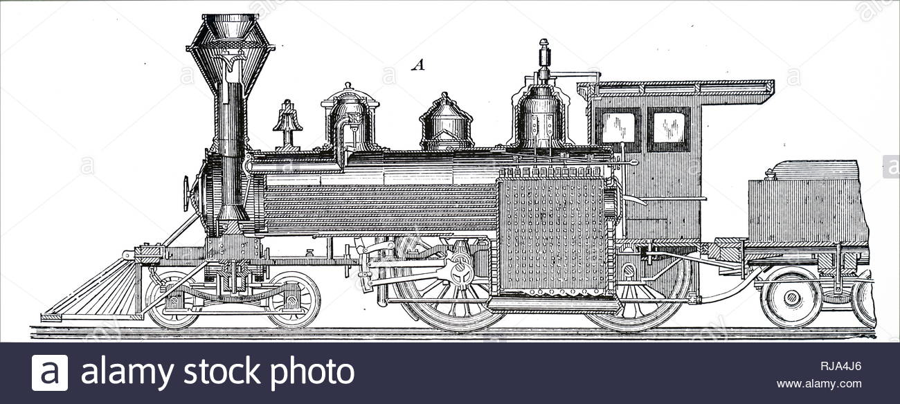 Engraving depicting a central longitudinal section of a locomotive by Baldwin Locomotive Works, Philadelphia. Dated 19th century - Stock Image