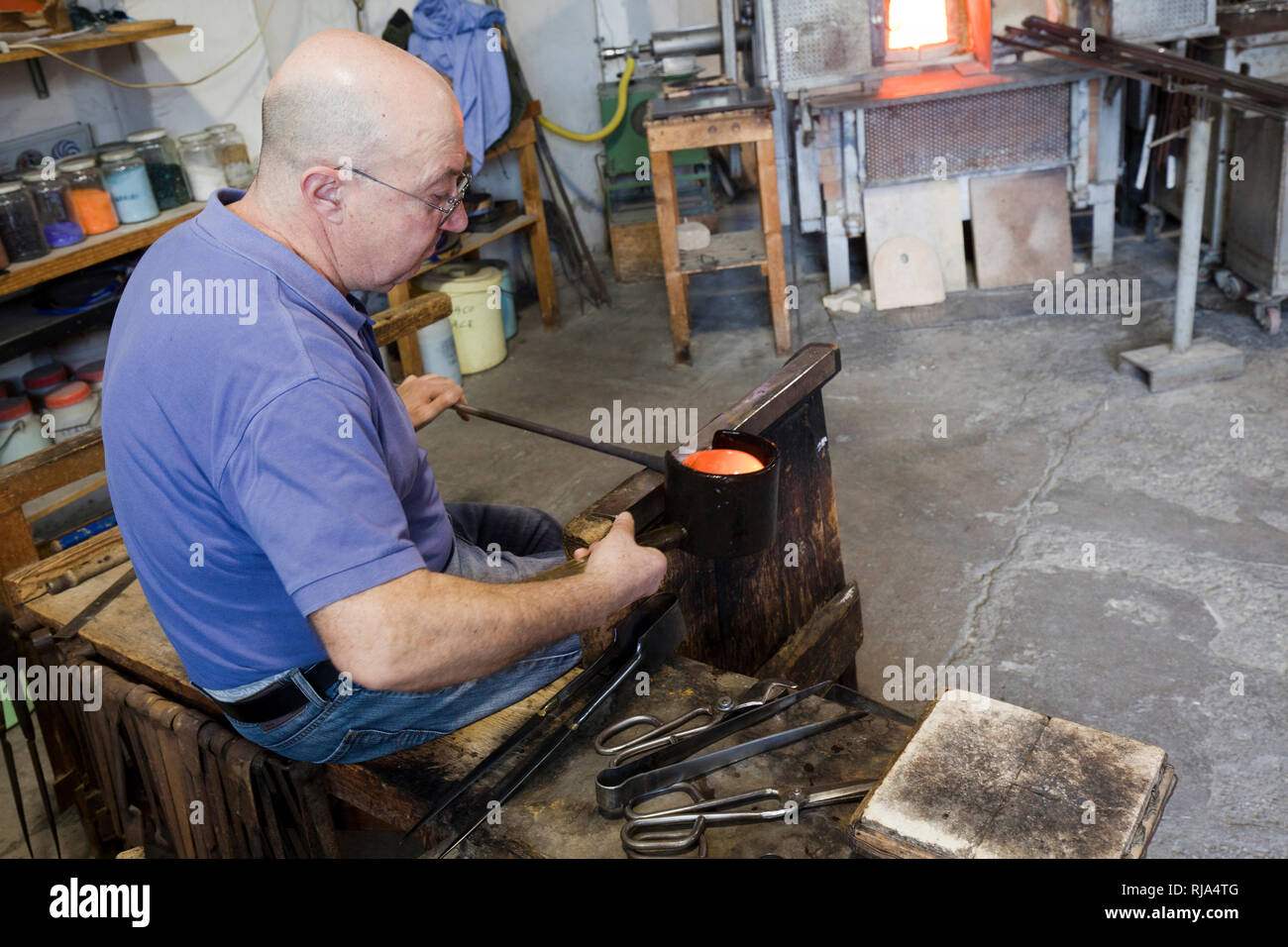 Glassblowing art from Murano Stock Photo