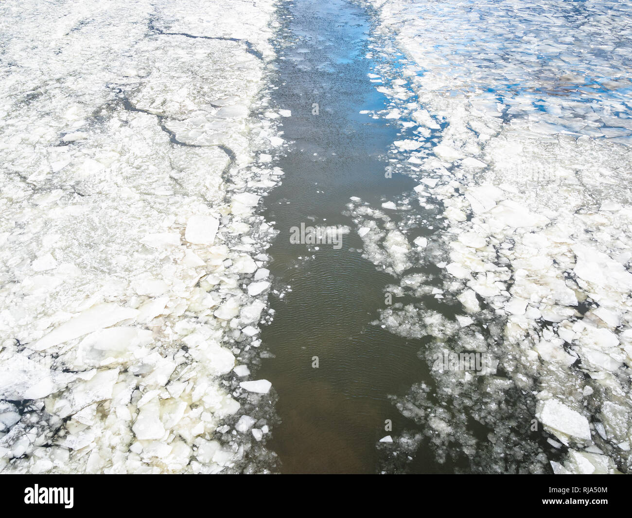 trace of ship in ice of frozen Moskva river in winter Stock Photo