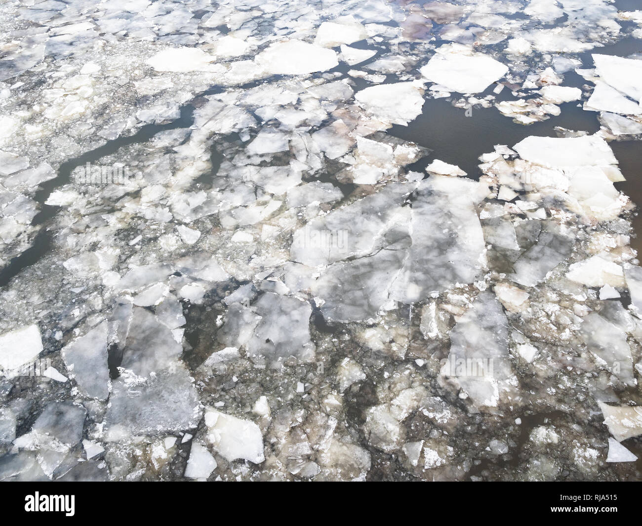 ice floes in Moskva river in Moscow city in winter Stock Photo