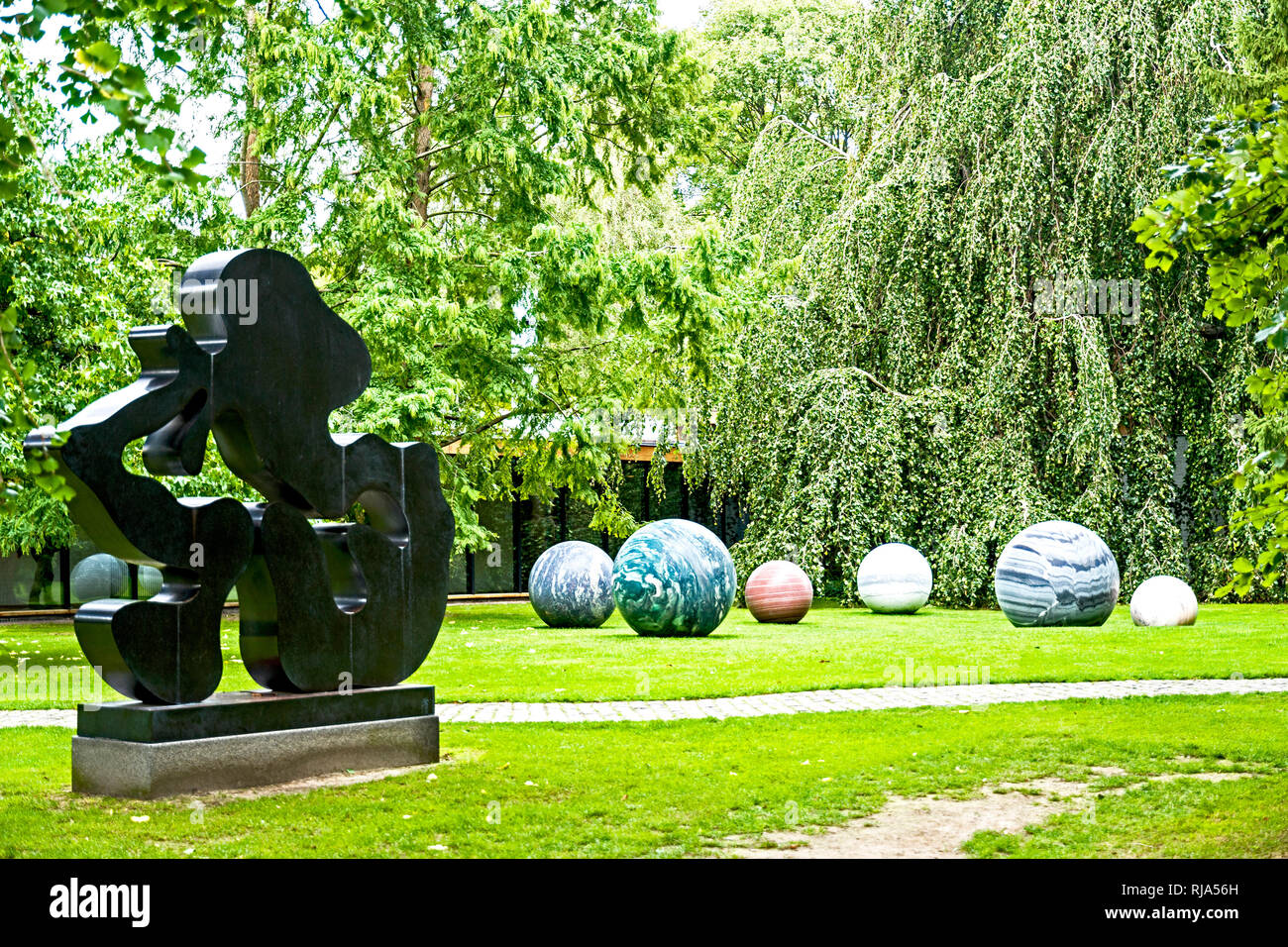 Humlebaek (Denmark): Louisiana Museum of Modern Art, located on the shore of the Øresund - Stock Image