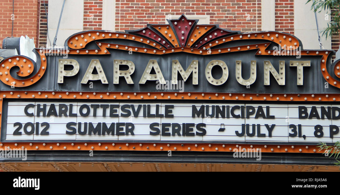 Marquee of the historic Paramount Theater located on the pedestrian mall in downtown Charlottesville, Virginia. - Stock Image