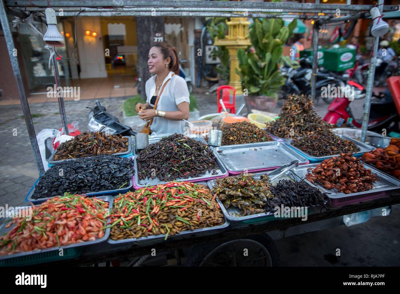 Kambodscha, Phnom Penh, Straßenszene, Verkaufsstand für geröstete Insekten, Spinnen, Kakerlaken, Larven, Würmer usw. - Stock Image