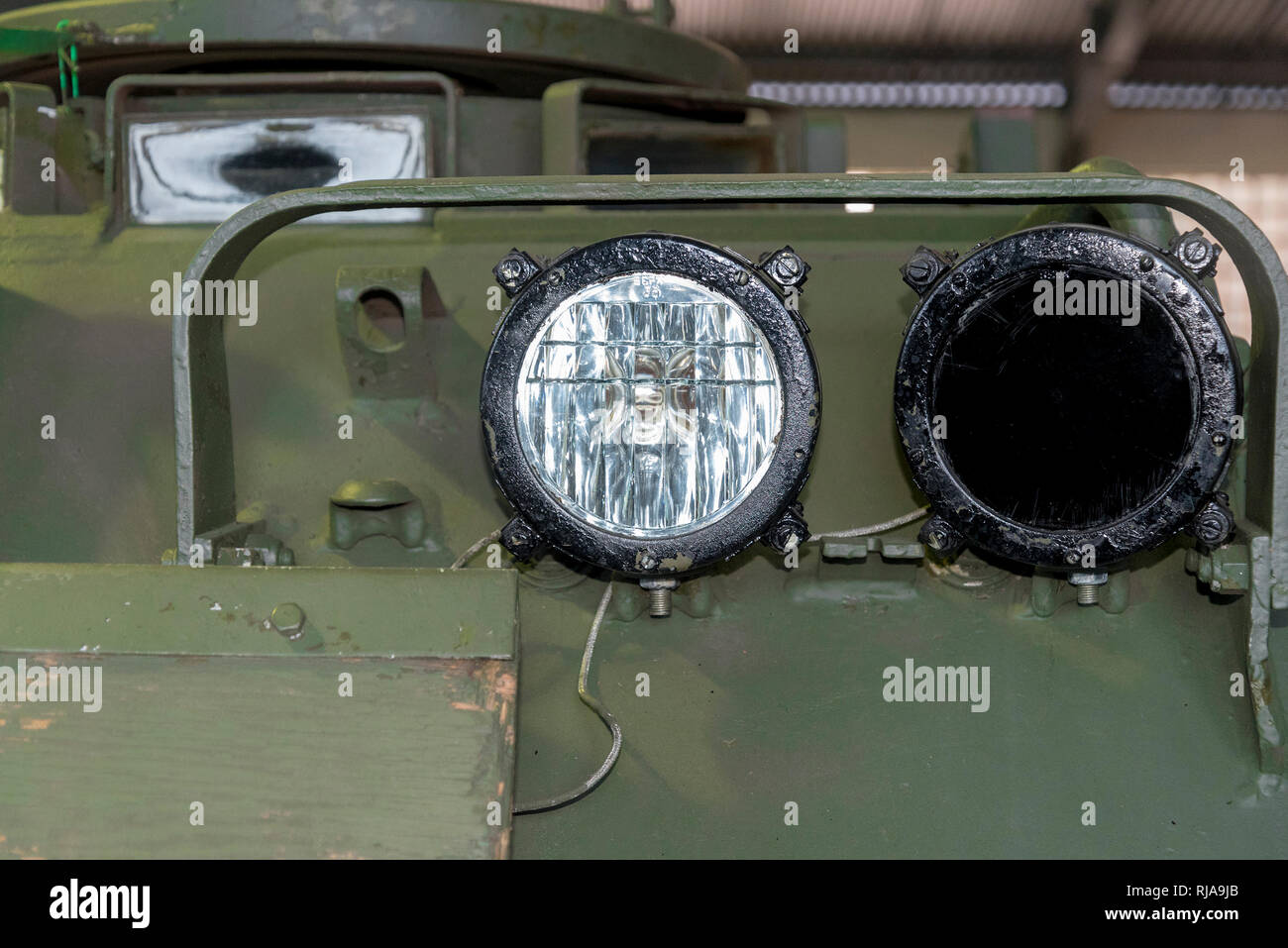 Round lantern in the armored vehicle of Russian military