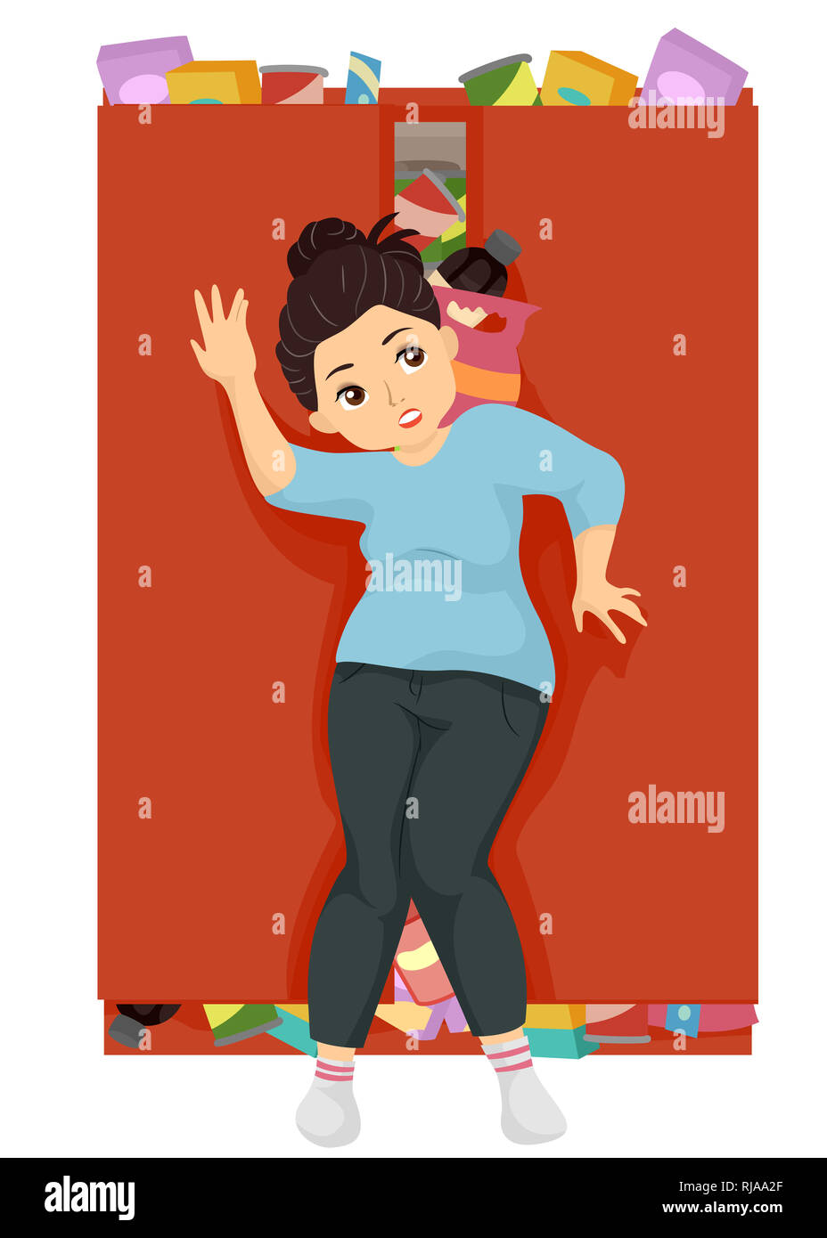 Illustration of a Teenage Fat Girl Closing and Hiding Pantry Full of Junk Food - Stock Image