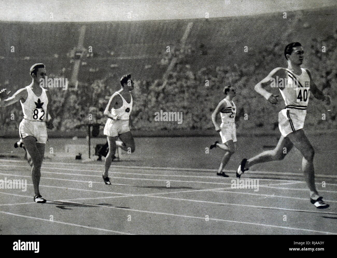 Photograph of Bill Carr (1906-1966) was a favourite for the 400 m gold at the 1932 Summer Olympics. Carr took the victory in 46.2 seconds talking gold and setting a new world record. Dated 20th Century - Stock Image