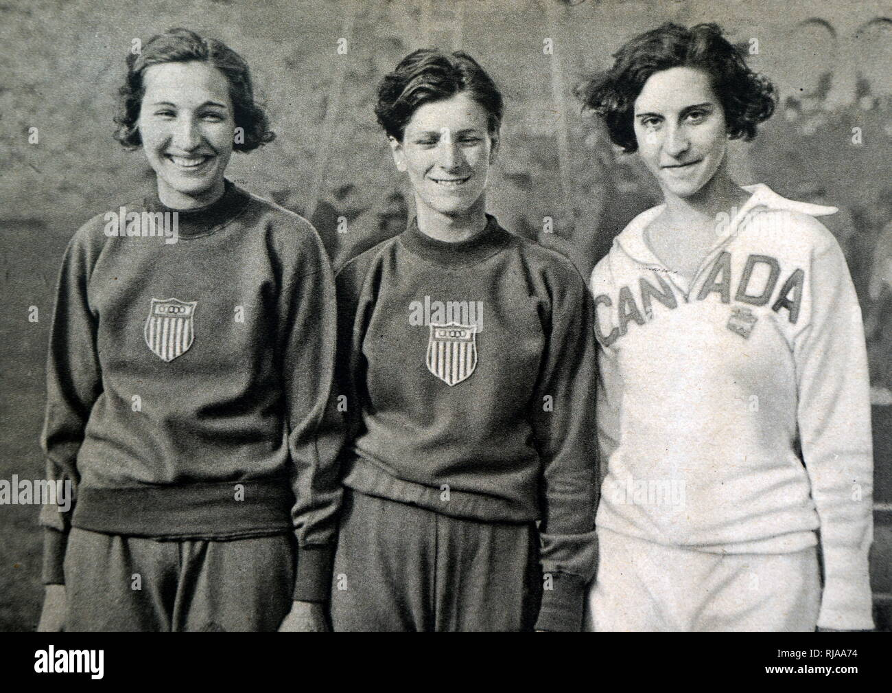 Photograph of the High jump medalists at the 1932 Olympic games. (left to right) Jean Shiley (1911- 1998) took gold for the USA. Mildred Ella 'Babe' Didrikson Zaharias (1911 - 1956) took silver for the USA. Eva Dawes (1912 - 2009) took bronze for Canada. - Stock Image
