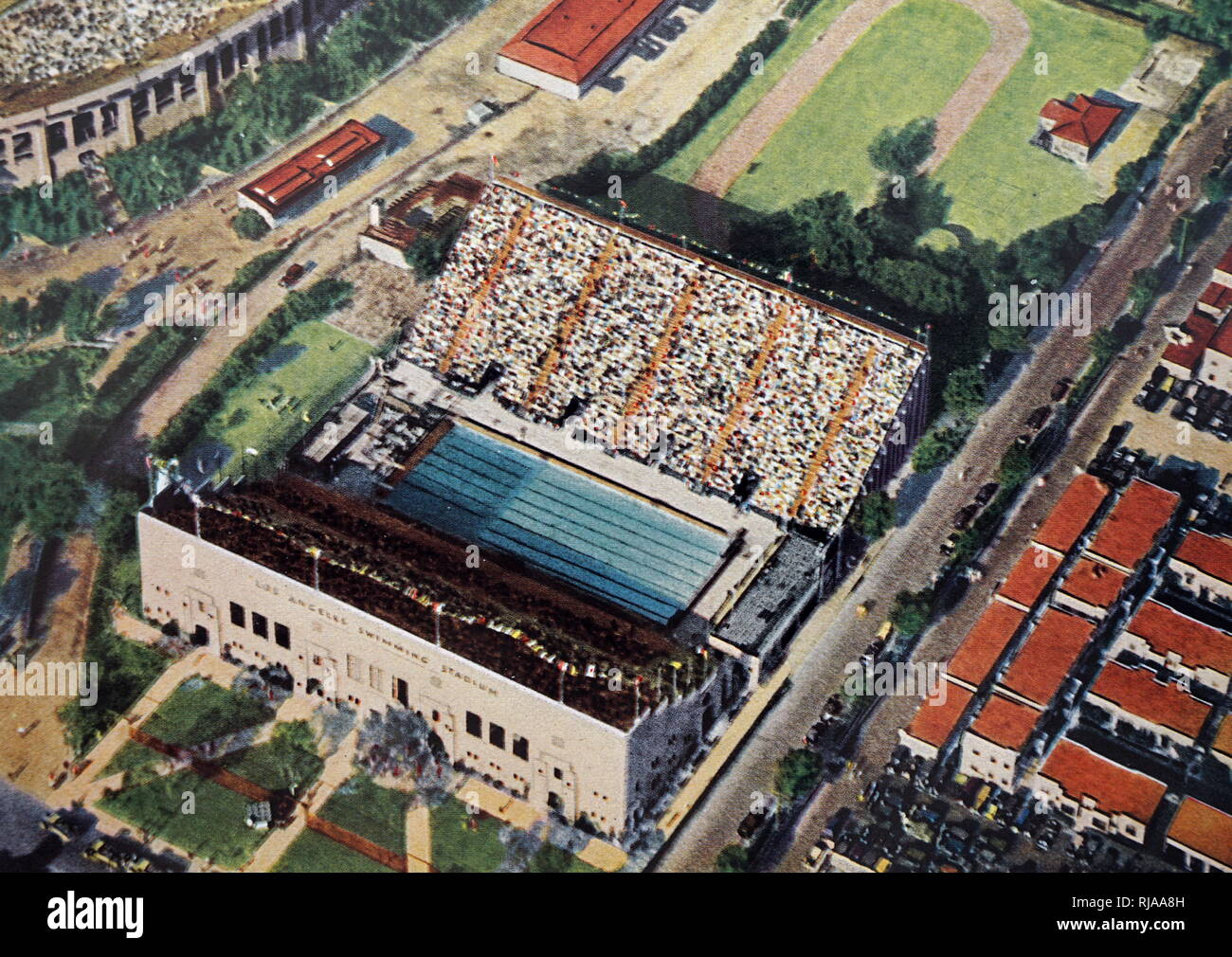 Hand Coloured photograph of  Los Angeles Swimming Stadium during the 1932 Summer Olympics. - Stock Image