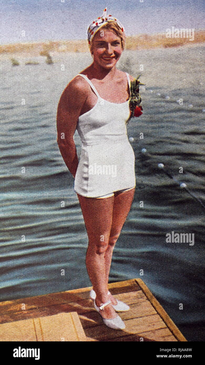 Photograph of Dorothy Poynton-Hill (1915 - 1995) from the USA at the 1932 Olympic games. Dorothy was an American diver who competed at the 1928, 1932 and 1936 Summer Olympics. - Stock Image