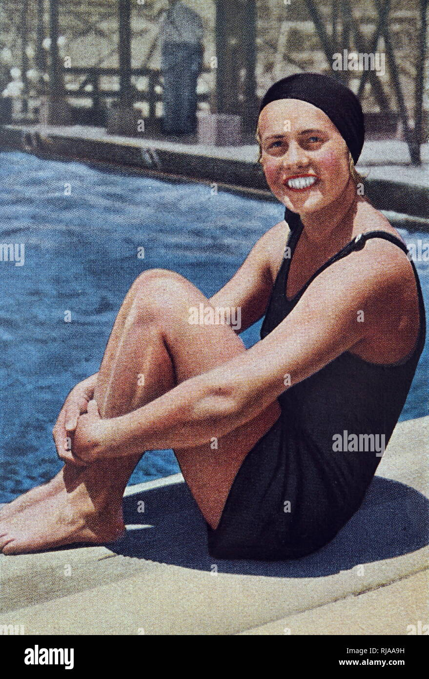 """Photograph of """"Miss Olympia"""" Ingeborg Sjoquist (1912 - 2015) who was a Swedish swimmer at the 1932 Olympic games. She turned 100 in April 2012 and was the world's oldest living Olympian from the death of Guo Jie. Stock Photo"""