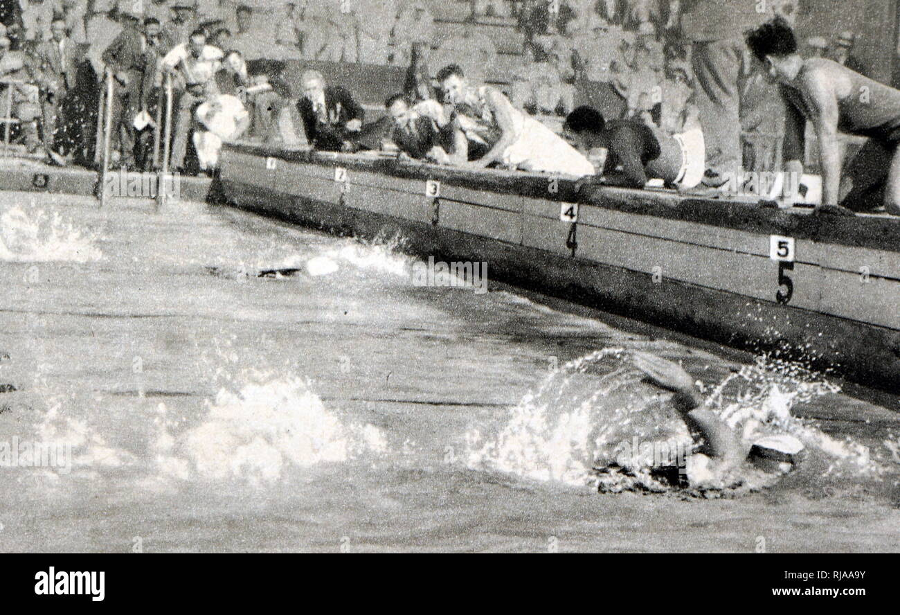 Photograph of the  women's 400 meter freestyle final at the 1932 Olympic games. Won by Helene Emma Madison (1931 - 1970) from the USA. - Stock Image