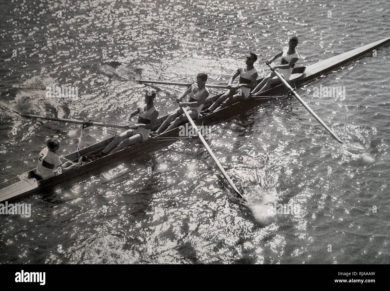 Photograph of the German Coxed four team in rowing during the 1932 Olympic games. Hans Eller, Horst Hoeck, Walter Meyer, Joachim Spremberg & Carlheinz Neumann. - Stock Image