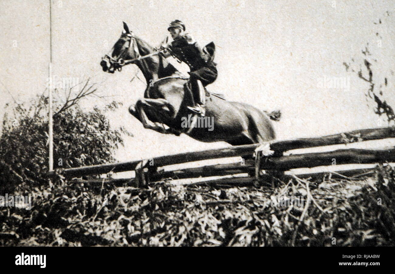 Photograph of Konrad Miersch (1907 - 1942) completing in the modern pentathlon at the 1932 Olympic games. - Stock Image