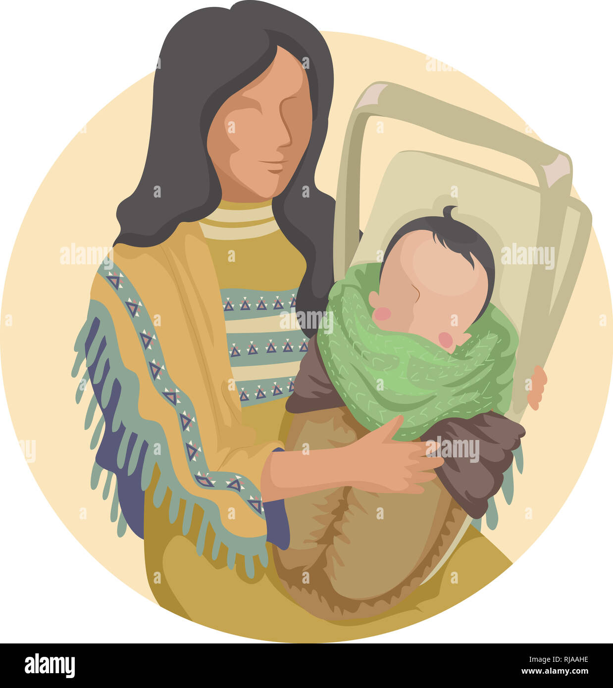 a39114049de Illustration of a Native American Indian Mother Carrying Her Baby in a Child  Carrier. Papoose