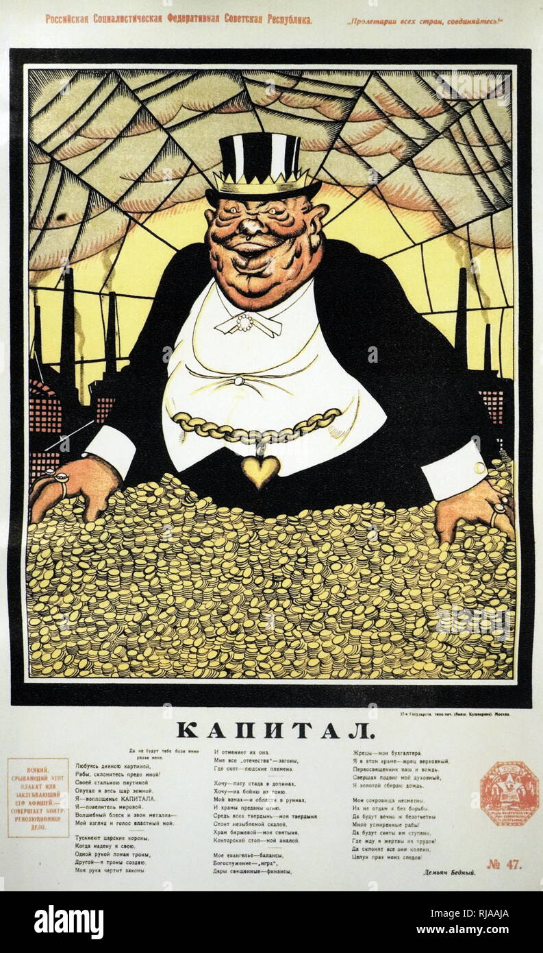 Russian communist, Anti-capitalist, propaganda poster 'Capital' 1919 by Victor Deni. The text warns that 'Anyone who tears down this poster or covers it up, is performing a counter-revolutionary act'. Issued during the Russian Civil War - Stock Image