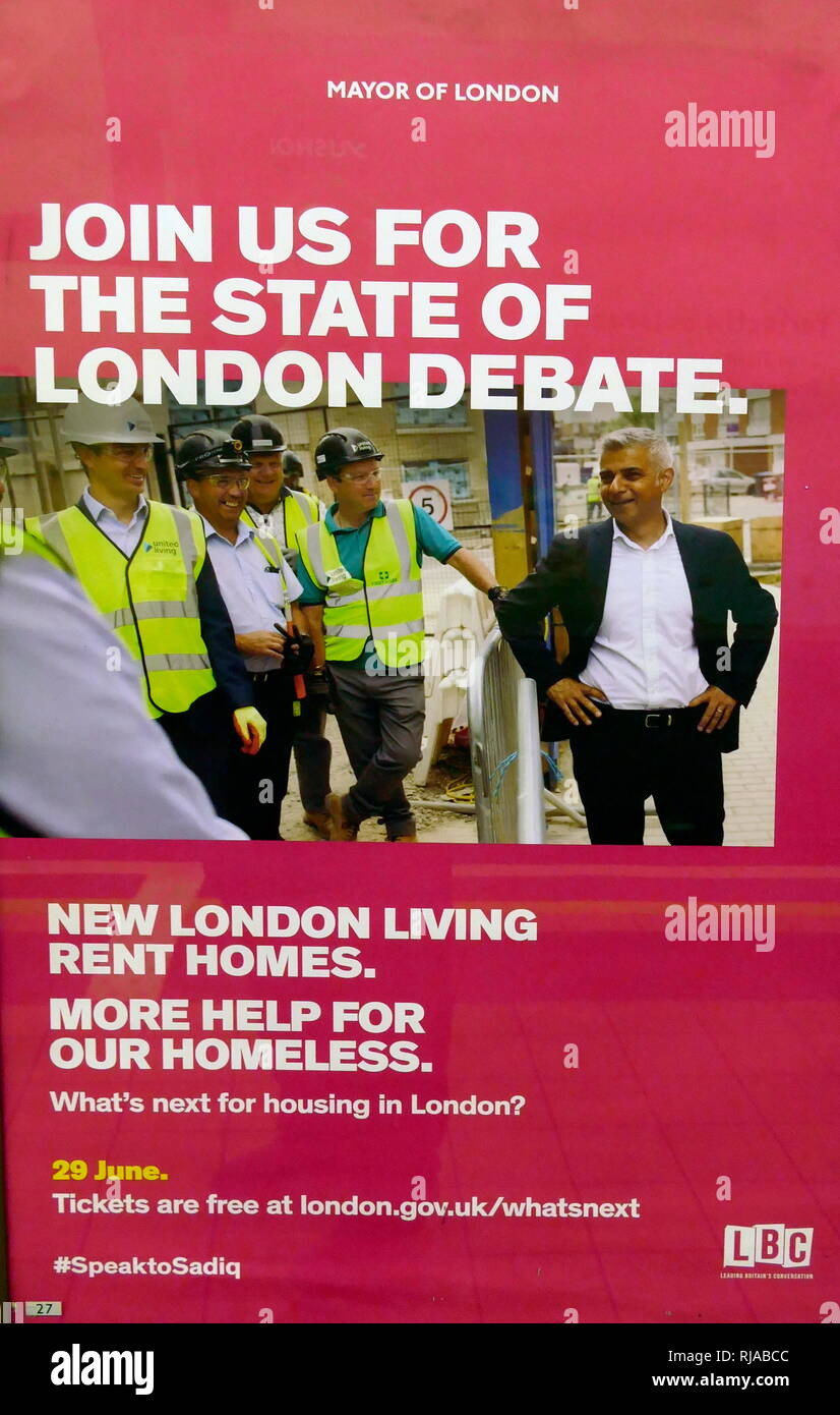 Leaflet for Sadiq Khan, the Mayor of London's debate on the state of London. 29th June 2016 - Stock Image