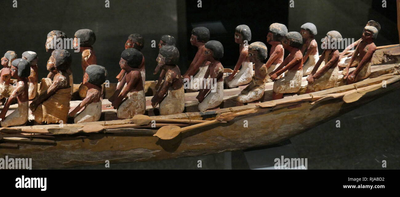 Ceremonial Barge 18th Dynasty; Egypt. Painted Wood. model boats were placed in the tombs of kings, in order to serve them in the afterlife. - Stock Image