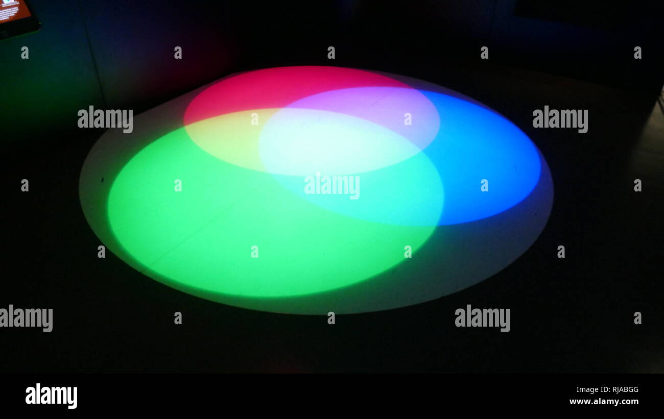 A colour spectrum. This term was first used scientifically in optics to describe the rainbow of colours in visible light after passing through a prism. In the 17th century, the word spectrum was introduced into optics by Isaac Newton, referring to the range of colours observed when white light was dispersed through a prism. - Stock Image