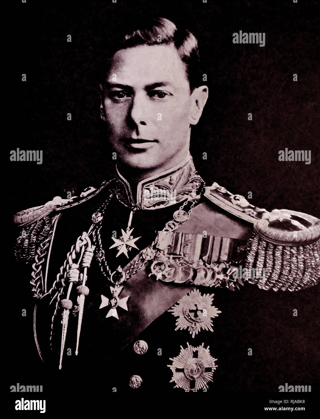 H.M. King George VI of the United Kingdom in the full dress uniform of a British field marshal, 1937. George VI (Albert Frederick Arthur George). (1895 – 1952); King of the United Kingdom and the Dominions of the British Commonwealth from 1936 until his death. He was the last Emperor of India and the first Head of the Commonwealth. - Stock Image