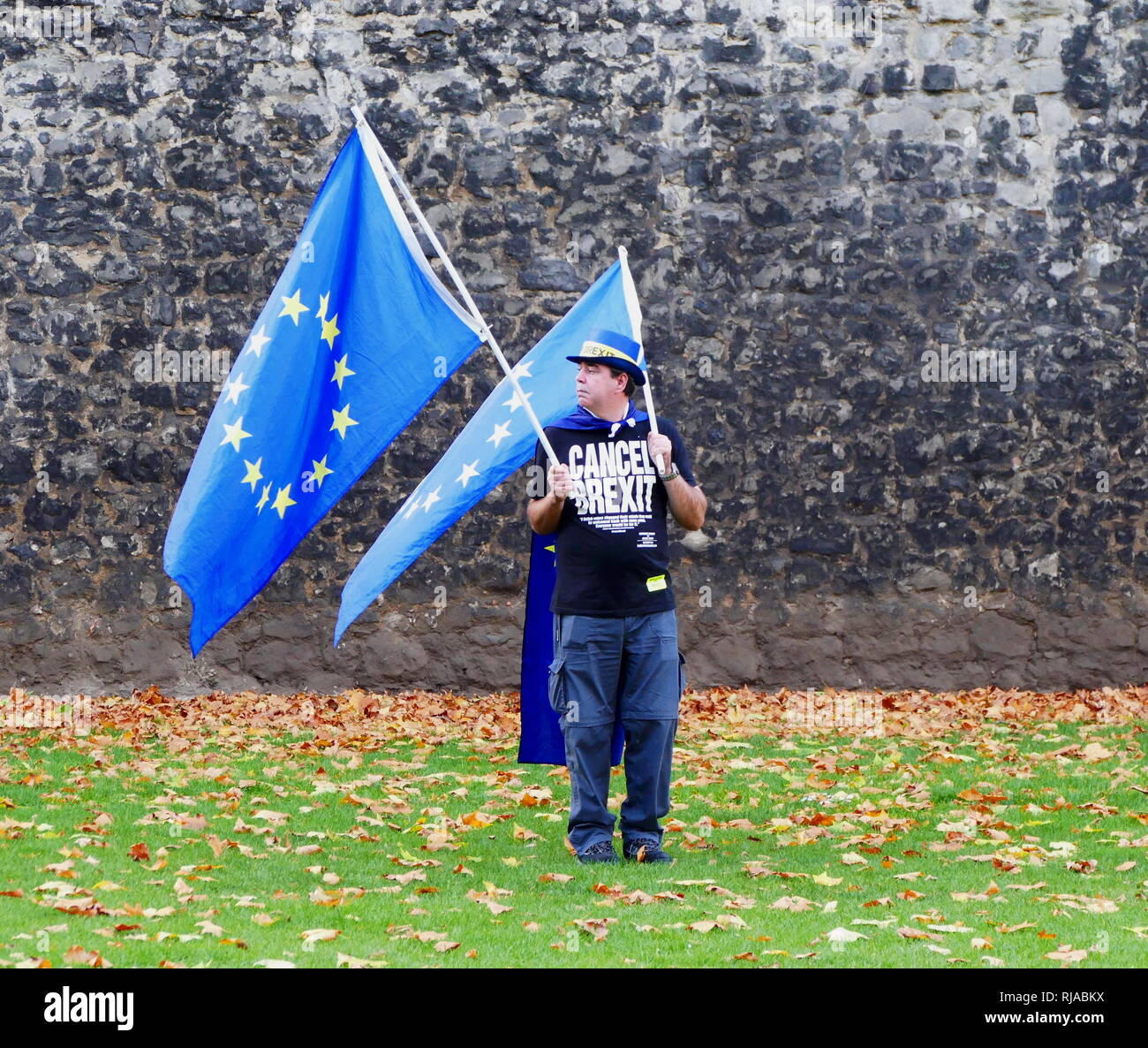 Solitary protester carrying European Union flags opposite the British Parliament, protests against the Brexit vote after the 2016 Referendum in which the United Kingdom voted to leave the EU. Stock Photo