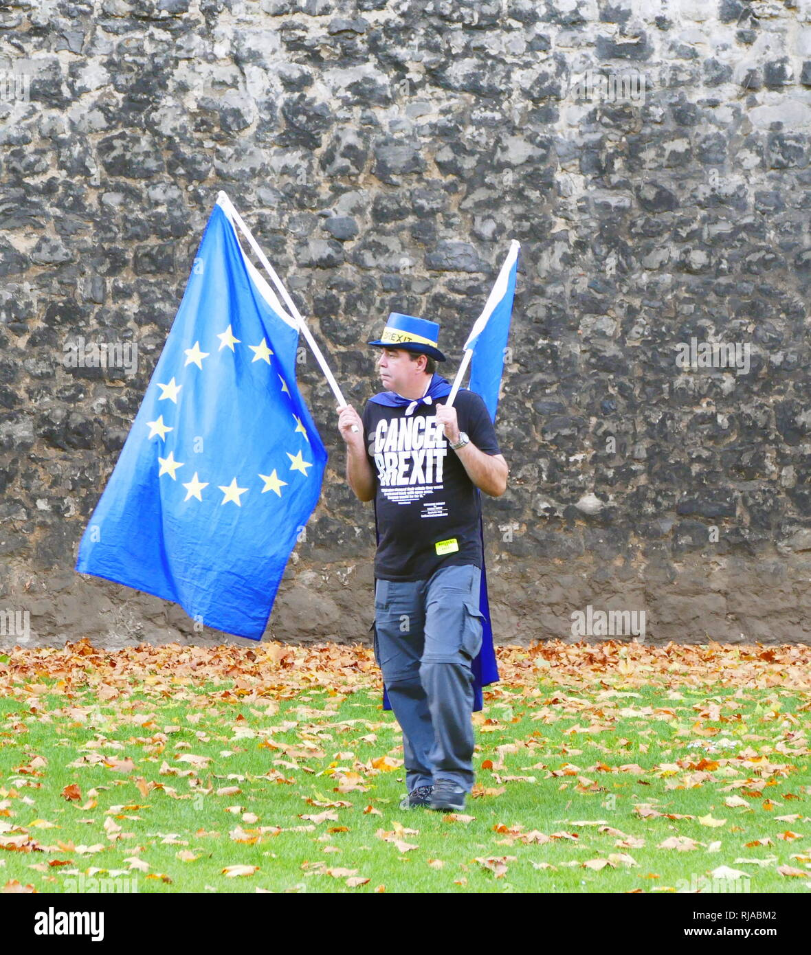 Solitary protester carrying European Union flags opposite the British Parliament, protests against the Brexit vote after the 2016 Referendum in which the United Kingdom voted to leave the EU. - Stock Image