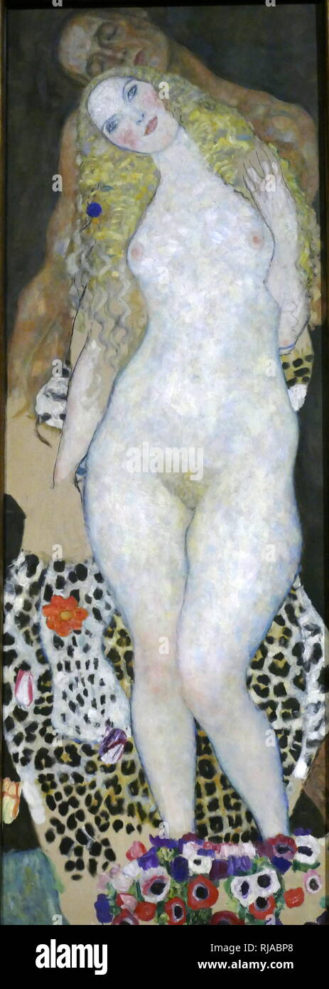 Adam und Eva, 1917. Adam and Eve (unfinished). Oil on canvas by Gustav Klimt. 1917-18 - Stock Image