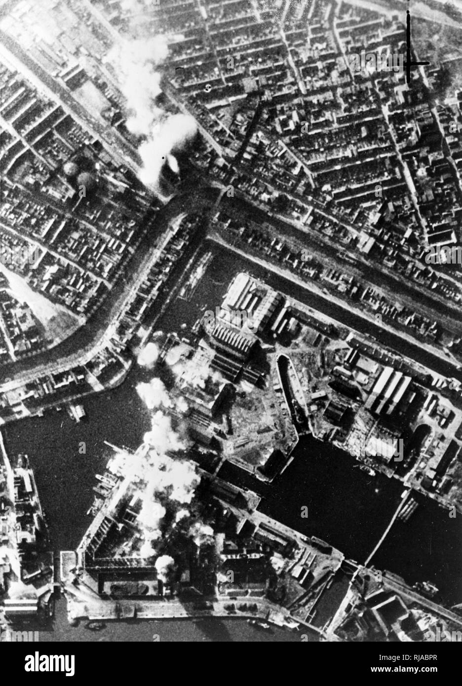 Ventura aircraft of the Royal Air Force Bomber Command, escorted by fighters, carried out a daylight attack on the Royal Dutch blast furnaces and steelworks at Ijmuiden, Holland, on February 13, 1943. World War Two - Stock Image