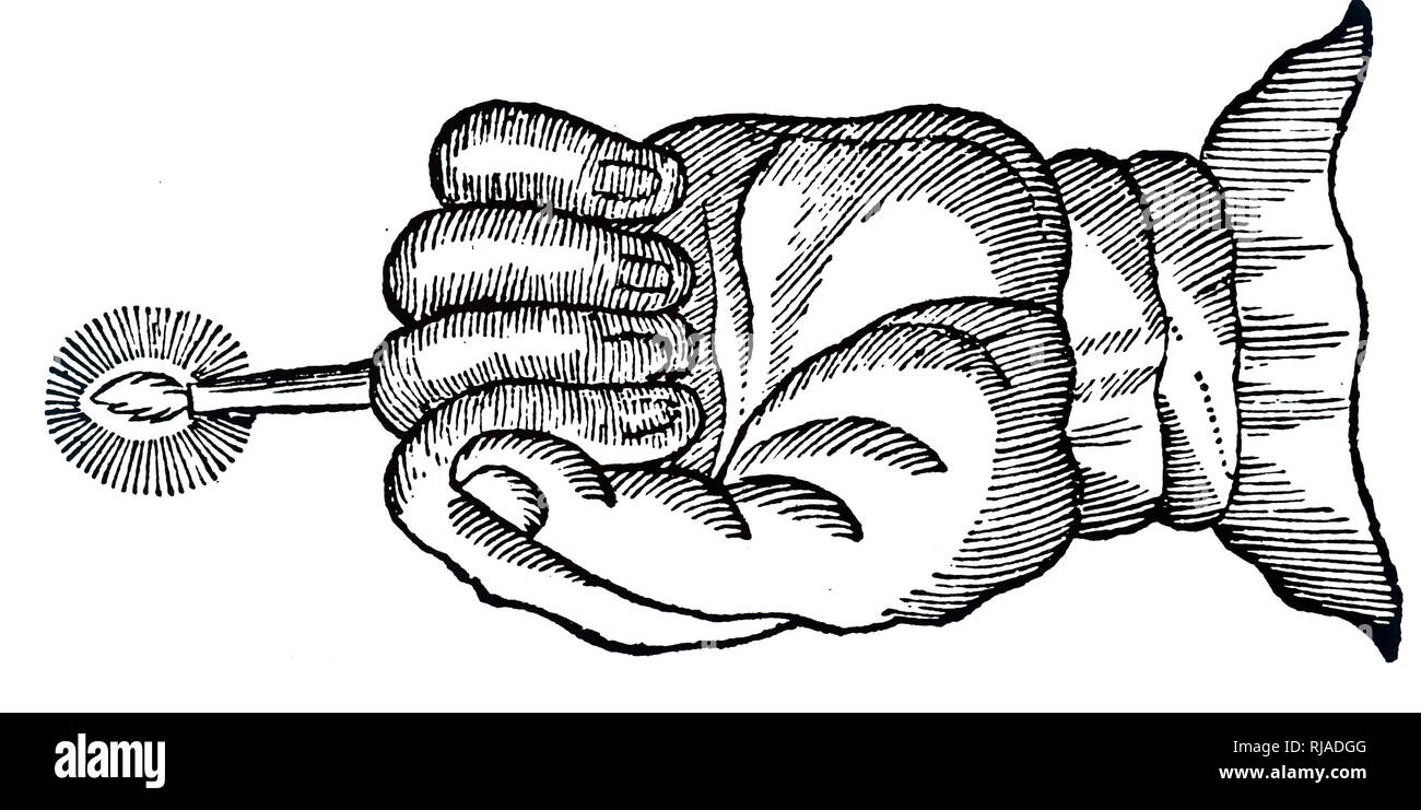 A woodblock engraving depicting The Hand of Glory: used by robbers as an evil spell to make people motionless. The hand was removed from the carcass on a gibbet and used to hold a candle made, from, among other things, the fat of an executed criminal. Dated 18th century - Stock Image