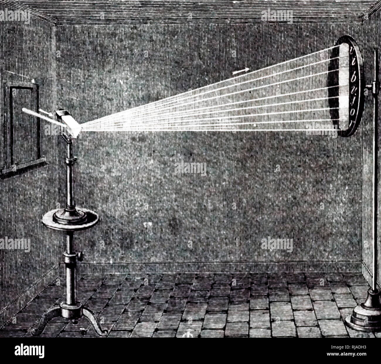 An engraving depicting the projecting of a beam of sunlight (white light) passing through a prism and breaking it down into it's separate colours. Dated 19th century - Stock Image