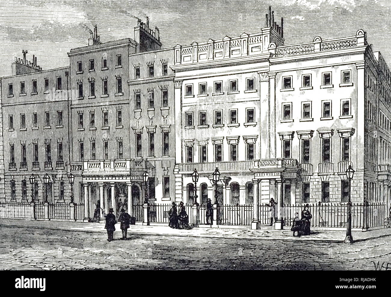 An engraving depicting the exterior of Claridge's a 5-star hotel at the corner of Brook Street and Davies Street in Mayfair, London. Dated 19th century - Stock Image