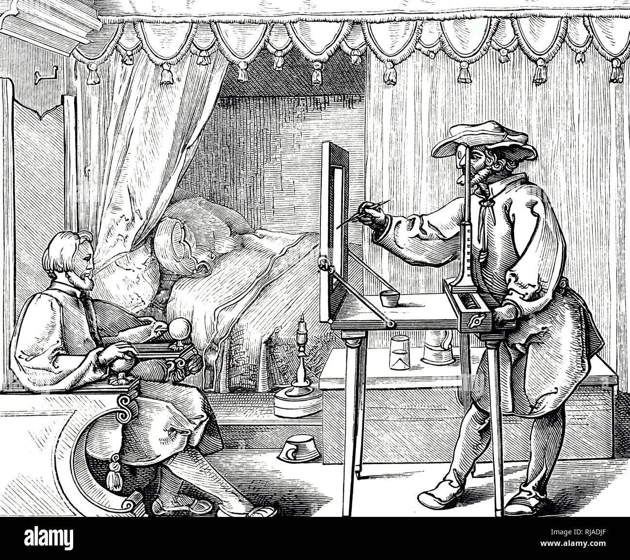 A woodcut engraving depicting an artist using a drawing aid to get the proportions of a portrait correct. Engraving by Albrecht Dürer (1471-1528) a German painter, printmaker, and theorist of the Renaissance. Dated 17th century Stock Photo