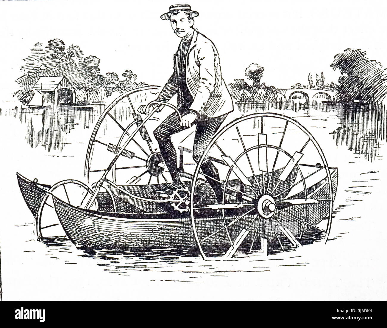 An engraving depicting a combined tricycle and boat for use on land or water. Dated 19th century - Stock Image