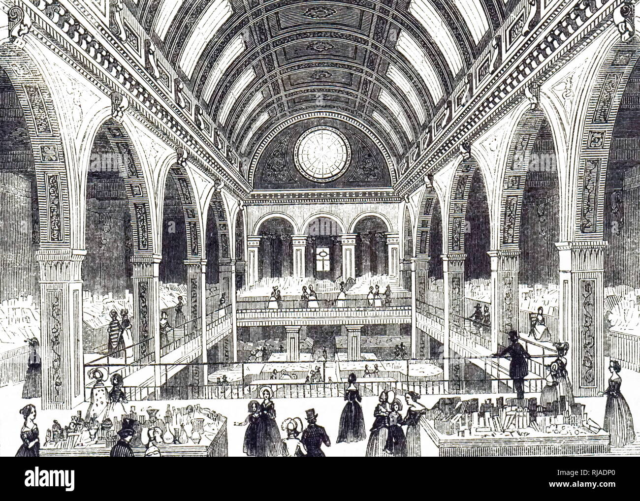 An engraving depicting a Bazar on Oxford Street, London. The first floor was a picture gallery. The next level shown had counters for millinery, lace, hosiery, cutlery, jewellery, toys, children's clothing, etc.. Each stand had a young assistant. Dated 19th century - Stock Image