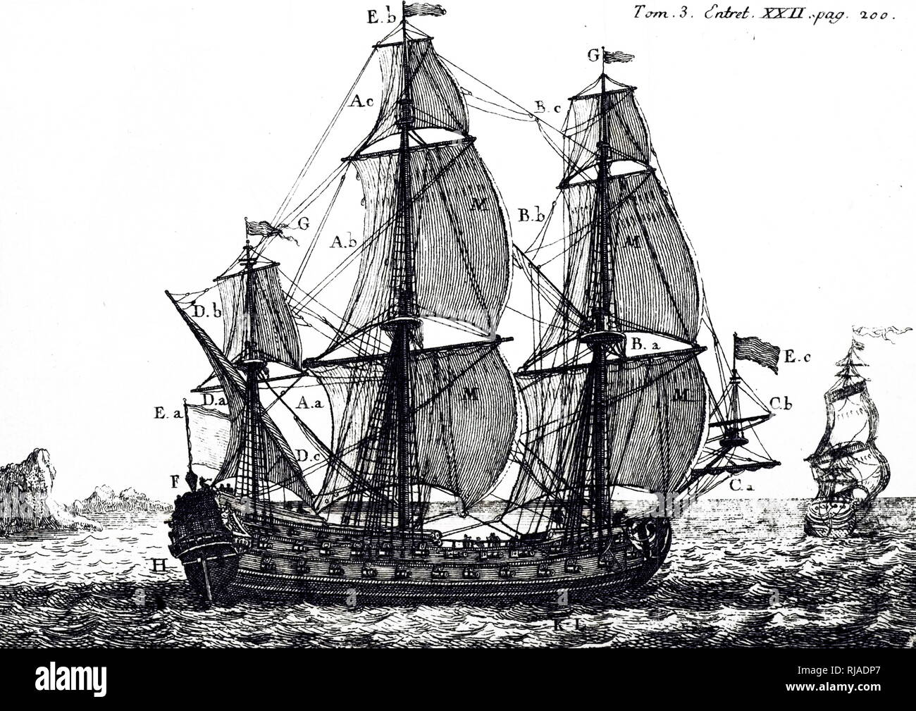 A woodblock engraving depicting a first-rate ship of the line carrying sail. Dated 18th century - Stock Image