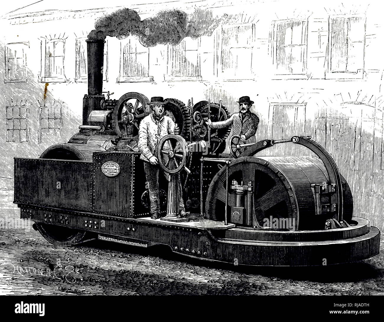 An engraving depicting Messrs Clarke & Batho's steamroller. Dated 19th century - Stock Image