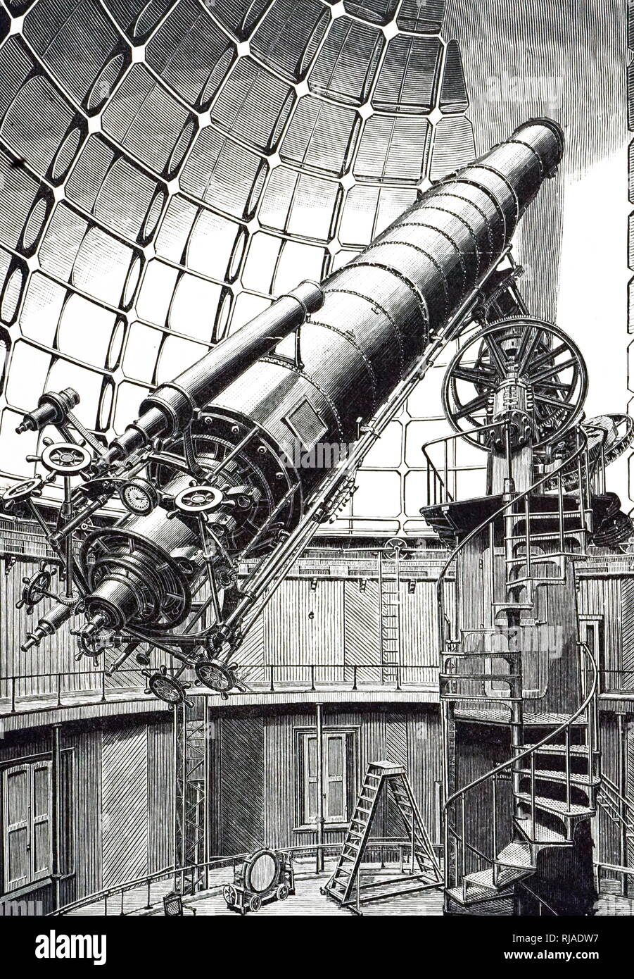 An engraving depicting a 36-inch refractor at the Lick Observatory. One of the world's two largest refractors it is on a 'German' style equatorial mounting, with the axis parallel to Earth's polar axis supported on a high pillar. The counterbalance weight for the telescope shows clearly. Dated 20th century - Stock Image
