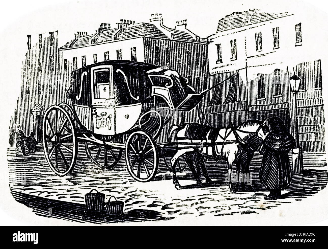 An engraving depicting a Hackney coach - a coach for hire. Dated 19th century - Stock Image