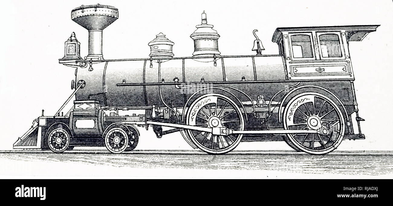 An engraving depicting a 4-4-0 express locomotive built by Dubs & Co., Glasgow. Dated 19th century - Stock Image