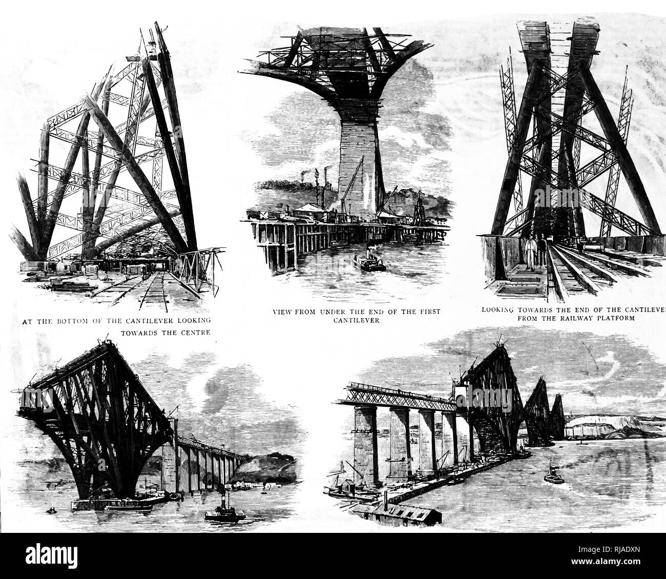 An engraving depicting various cantilevers, a long projecting beam or girder fixed at only one end, used in bridge construction, along railway lines. Dated 19th century Stock Photo
