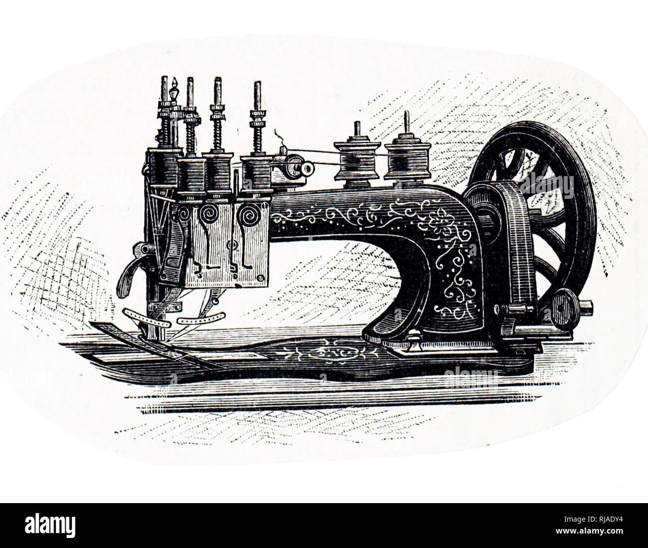 An engraving depicting a 'Utility' Embroiderer. This machine has two needles, and the threads passed through a pair of reciprocating guides. Dated 19th century - Stock Image