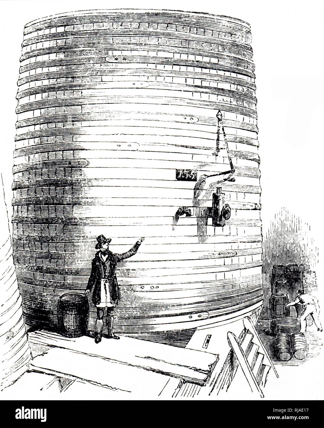 An engraving depicting fermenting vessels in which cool beer or wort fermented with yeast. Dated 19th century - Stock Image