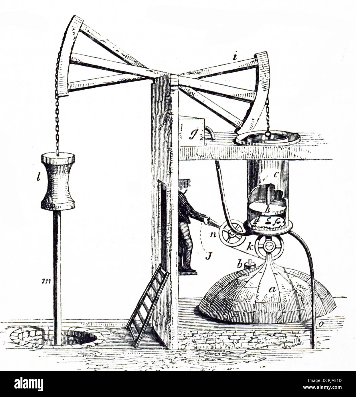 An engraving depicting Newcomen's atmospheric steam engine (1705). The boiler is at A, and the piston H, is pushed by steam up the open cylinder C: it descends due to atmospheric pressure when steam in the cylinder is cooled and condensed by water from a cistern, g. Dated 19th century - Stock Image