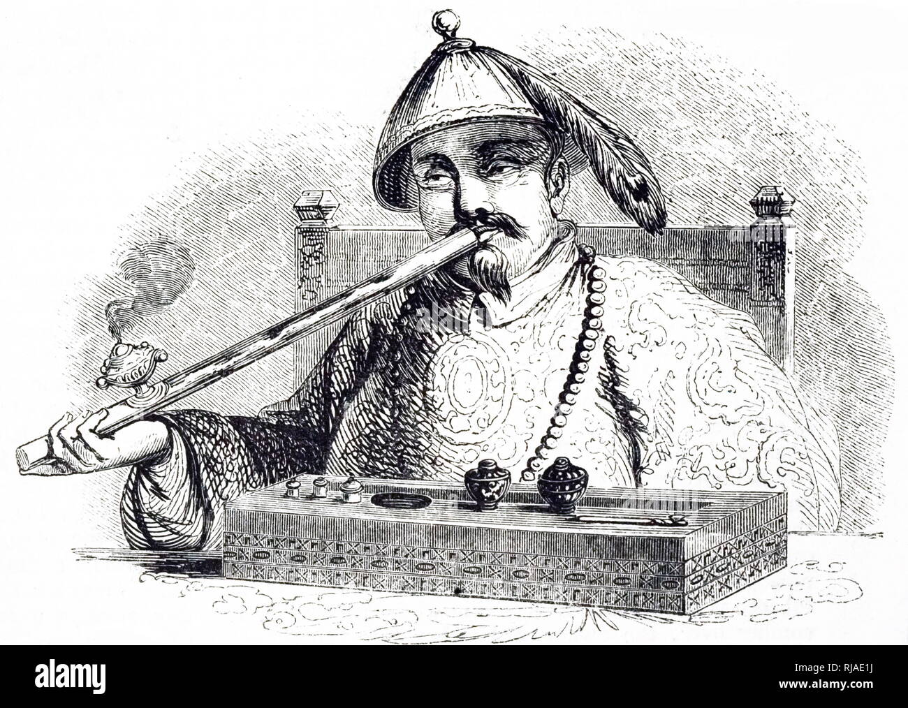 Illustration depicting a Chinese man smoking opium 1852. Imports of opium into China stood at 200 chests annually in 1729, when the first anti-opium edict was promulgated. By the time Chinese authorities reissued the prohibition in starker terms in 1799, the figure had leaped; 4,500 chests were imported in the year 1800. The decade of the 1830s witnessed a rapid rise in the opium trade, and by 1838, just before the First Opium War, it had climbed to 40,000 chests. The rise continued on after the Treaty of Nanking (1842) that concluded the war - Stock Image